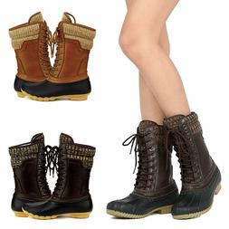 Women's Waterproof Rubber Skimmers Duck Boots Winter Rain Sn