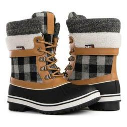 GLOBALWIN Women's Waterproof Winter Snow Boots 8, Black/Came