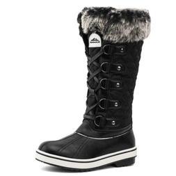 ALEADER Women's Waterproof Winter Snow Boots 9, Black