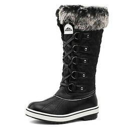 ALEADER Women's Waterproof Winter Snow Boots 9 Black