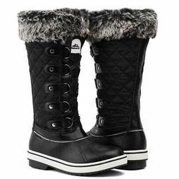 ALEADER Women's Waterproof Winter Snow Boots, Black, Size 7.