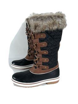 ALEADER Women's Waterproof Winter Snow Boots, Black Brown, S