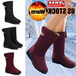 Women's Waterproof Winter Snow Boots Warm Fur Lined Buckle C