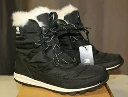 SOREL Women's Whitney Short Lace Snow Boot Black 6 M NEW