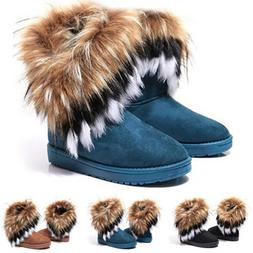 Women's Warm Suede Faux Fox Fur Short Snow Boots Platform Sh