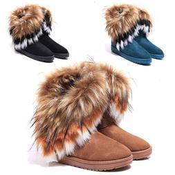 Women's Casual Warm Suede Faux Fox Short Snow Boots Platform