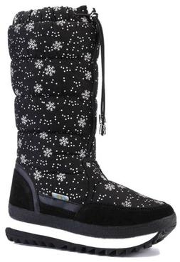 DADAWEN Women's Winter Fur Lined Frosty Snow Boots, Black, S