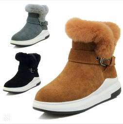 Women's Winter Fur Trim Lined Buckle Ankle Boots Thick Sole