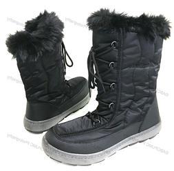 Women's Winter Snow Boots Black Fur Shoes Warm Ski Zipper, S