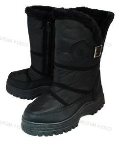 Women's Winter Snow Boots Black Warm Fur Lining Side Zipper
