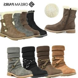 DREAM PAIRS Women's Winter Warm Faux Fur Lined Mid Calf Snow