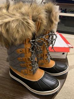GLOBALWIN Women's Winter Snow Boots, Wheat/Grey, Size 7us Eu