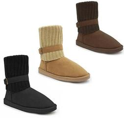 Women's Winter Suede Ankle Boots Classic Fold Over Knit Snow