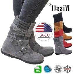 Women's Winter Warm Ankle Boots Fur Snow Short Mid Calf Slou