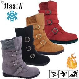 Women's Winter Warm Ankle Boots Ladies Fur Lined Snow Buckle