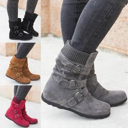 Women's Winter Warm Ankle Boots Ladies Fur Snow Buckle Flats