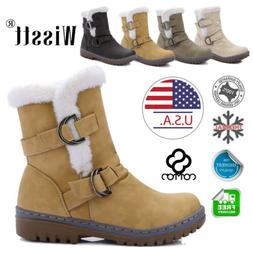 Women's Winter Warm Leather Ankle Snow Boots Fur Thicken Ski