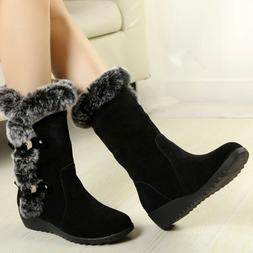 Women's Winter Warm Snow Boots Faux Fur Suede Mid Calf Fashi