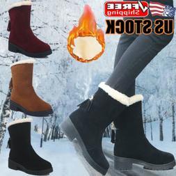 Women's Winter Warm Snow Boots Fur Lined Waterproof Slip On