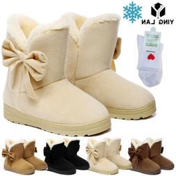Women's Winter Warm Suede Ankle Snow Boots Fur Thicken Ski F