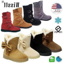 Women's Winter Warm Suede Ankle Snow Boots Fur Thicken Ski F