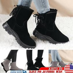 Women Snow Ankle Boots Outdoor Winter Warm Lace Up Fur Lined