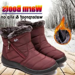 ⭐Women Snow Ankle Boots Winter Fur Lined Warm Waterproof O