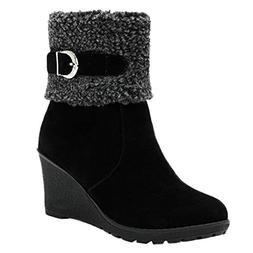COPPEN Women Snow Boots Brief Buckle Zipper Wedges High Heel