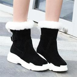 Women Thick Fleece Fur Winter Snow Ankle Boots Platform Fash