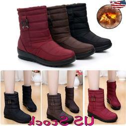 Women Waterproof Winter Snow Ankle Boots Fur Lined Shoes Sli