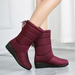 Women Winter Boots Waterproof Warm Fur Mid-calf Snow Non-sli