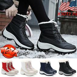 Women Winter Outdoor Snow Boots Ladies Lace up Fur Lined War
