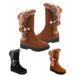 Women Winter Snow Boots Fashion Fur Warm Buckle Casual Mid C