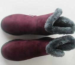 Dear Time Women Winter Warm Button Snow Boots 5 1/2 Red Wine