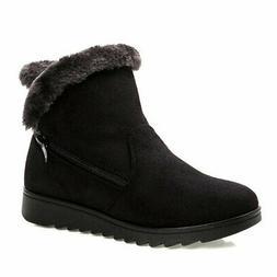 Dear Time Women Winter Warm Button Snow Boots US 7 Black Zip