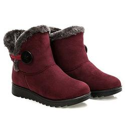 Dear Time Women Winter Warm Button Snow Boots US 8 Black Zip