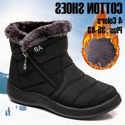 Women Winter Warm Shoes Snow Boots Fur-lined Slip On Warm An
