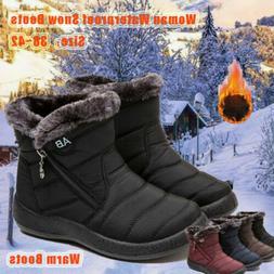 Women Winter Warm Shoes Snow Boots Fur-lined Warm Ankle Shoe