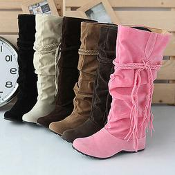 Women Winter Warm Snow Boots Suede Tassel Mid-calf Boots Fla