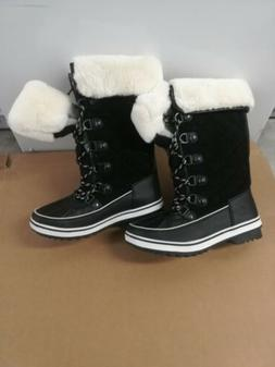 Global Win Womens Black Snow Boots Size 7.5