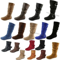 Women's Boots Slouch Below The Knee High New Faux Suede Fl