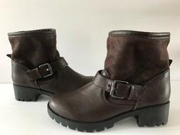 Aldo Womens Brown Winter Bootie Snow Boots with Faux Fur Lin