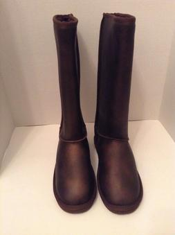 Womens Brown Winter Knee High Boots 9 After Ski Flats Faux S