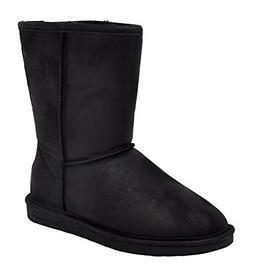 Bearpaw Womens Emma Short 8-Inch Suede Sheepskin Boot, Black