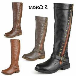 Womens Equestrian Riding Boots Zip Buckle Low Heel Winter Wa