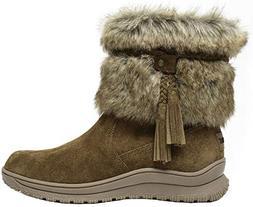 Minnetonka Womens Everett Shearling Boot, Dusty Brown, Size