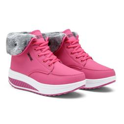 Womens Fashion Ankle Snow Boots Sneaker Lace Up Waterproof O