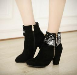 Women's Fashion Black Winter Ankle Boots Suede Leather Poi