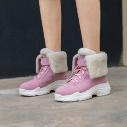 Womens Fashion Winter Fur Trim Lace Up Round Toe Snow Boots
