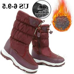 Womens Fleece Lined Snow Boots Winter Frost Mid Calf Sherpa